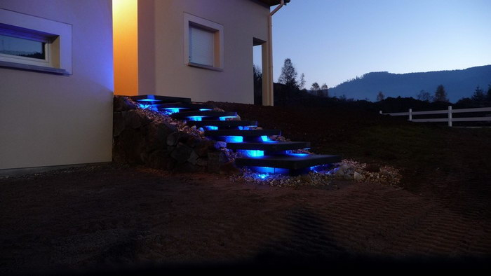 Evasion jardin paysagiste r f rences pavage clairage led for Eclairage led terrasse